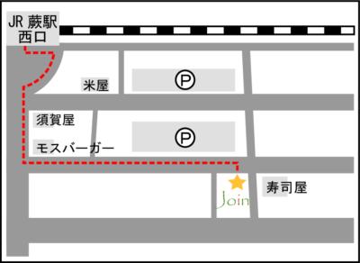 蕨駅西口からの地図